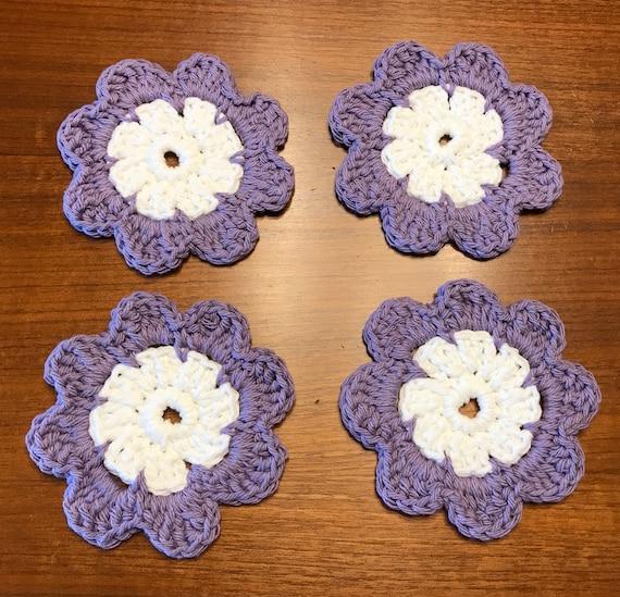 Hand Crochet White /& Lavender Flower Coaster