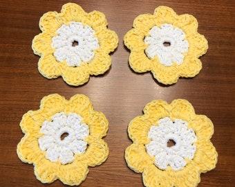 Yellow Daisy Crocheted Coaster Set
