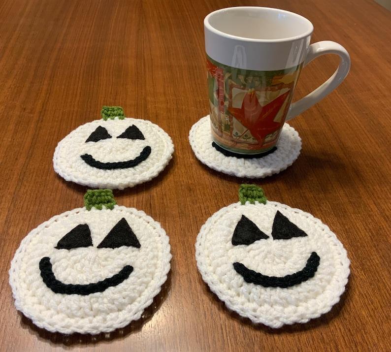 Pumpkin Crocheted Coasters White Jack o Lantern