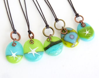 Glass drop necklaces with copper brass with silver star, one of a kind assortment of turquoise green patina kiln fired fused glass pendants