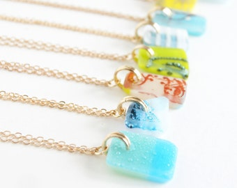 Small glass pendant necklaces on gold chain, one of a kind ooak handmade boho jewelry, frosted stained glass, zero waste eco friendly gifts