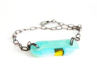Turquoise Bracelet, abstract design fused glass art, adjustable chain plus size - petite, OOAK kiln formed aquamarine glass bohemian jewelry
