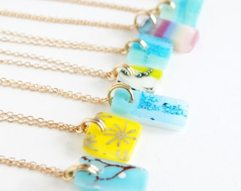 Assortment of one of a kind small glass pendant necklaces on gold chain, boho fused glass necklace, colourful handmade bohemian jewelry gift