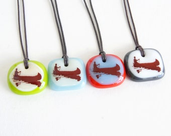 Canoe Necklaces, camping cottage canoeing outdoors lovers handmade gifts, one of a kind individually made boho fused glass pendant necklaces