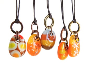 Glass drop necklaces with mixed metal copper with brass rings silver stars, one of a kind boho jewelry, orange brown fused glass pendants