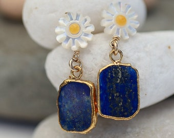 Anza Daisy Lapis Earring Gold Handcrafted