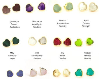 Mia birthstone earring studs, Collection by Chocolate and Steel handcrafted jewelry