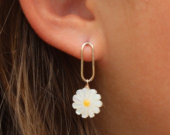 Anza Daisy Single Link Earring Silver Gold Handcrafted