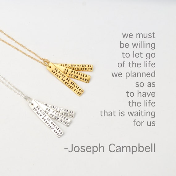 Joseph Campbell Quote Necklace We Must Be Willing To Let Etsy