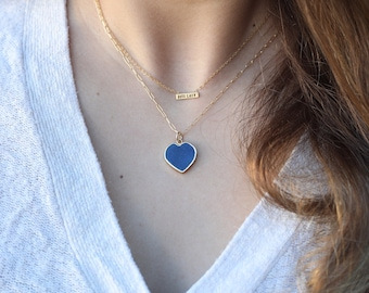 Isla Gemstone Heart Necklaces Birthstones, Collection by Chocolate and Steel handcrafted jewelry