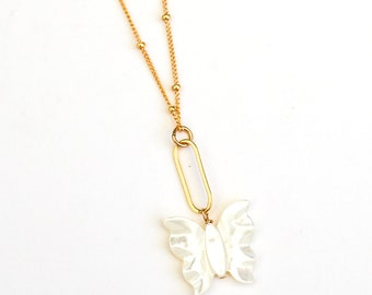 Indra Mother of Pearl Butterfly Necklace