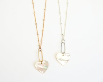 Indra Heart Pearl Necklace Gold Fill or Sterling Silver, Collection by Chocolate and Steel handcrafted jewelry