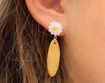 Anza Daisy Petal drop stud earring 14kt gold vermeil sterling silver handmade