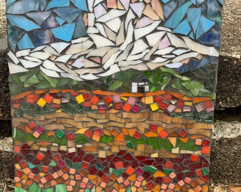 Little Shack on The Prairie Stained Glass Mosaic Art Wall Hanging