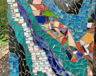 Clash Abstract Stained Glass Mosaic Original Art Wall Hanging