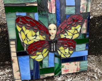 Dottie Butterfly Mixed Media Mosaic Art Wall Hanging