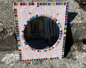 Lavender Circus Stained Glass Mosaic Mirror