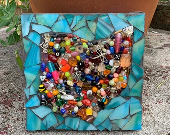 Ohio Shape Mixed Media Stained Glass Mosaic Wall Hanging