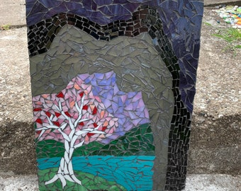 Happy Place Stained Glass Mosaic Original Wall Art
