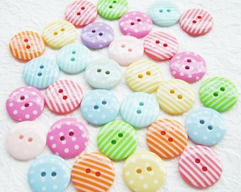 LAST PACK 2-hole Medium polka dot and strip Buttons 18 mm. - 30 pcs