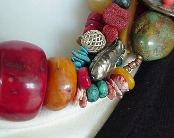Mother of all Chunky Necklaces with Turquoise Carnelian Abalone Coral Amber