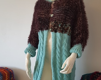Peppermint Woolfe, Hand Knit, Coat, Cable, Chunky Knit, Fluffy, Blue, Turquoise, Brown, Vintage, Classic, Chic, Jacket, Long Cardigan,