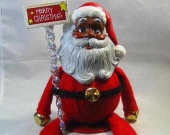 African American Santa Claus Santa Himself on a Shelf Handpainted