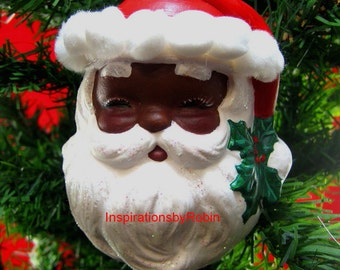 African American Santa Claus Holly Jolly Ornament Handpainted Ceramic