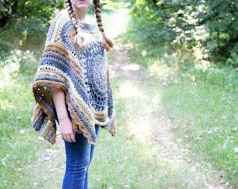 PDF Crochet Pattern A Walk in the Woods Poncho Crochet Pattern Only