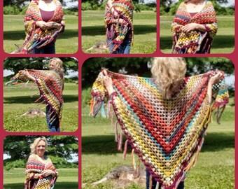Crochet Vintage Boho Hippie Shawl Wrap FREE Shipping in USA