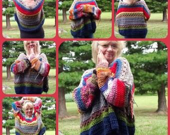 Crochet Boho Hippie Sweater FREE Shipping in USA