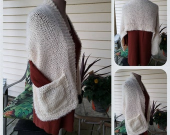 PDF Knitting Pattern for Pocket Shawl Wrap PATTERN ONLY Immediate Download