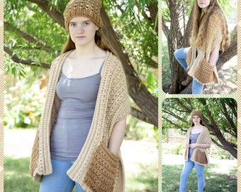 PDF Easy Crochet Pattern for Hugs Pocket Wrap Shawl for Beginners Printer Friendly