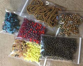 Seed Bead Assortment Blue Gold Yellow Red Green Matte and Shiny Tiny Seed Beads