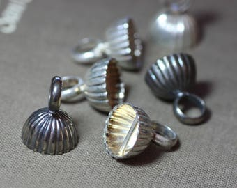 Silver Plated Beading End Caps Antiqued Oxidized Silver Assortment Lot Set