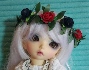 Red and Black flower crown YoSD, adjustable 1:6 LTF