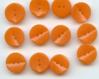 12 Pcs Vintage New Old Stock Casein Japanese Two Tone Orange Marbleized Buttons