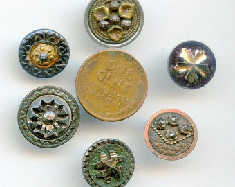 6 Victorian Metal Buttons with CUT STEEL Antique Crafters Nice Variety 8615 Lot of