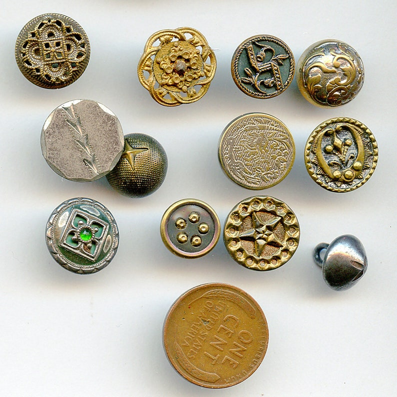 Lot of Victorian Metal Buttons Dozen 12 Small Antique MORE AVAILABLE 7299
