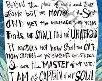Captain of My Soul • Invictus poem giclee art print • inspirational • motivational • hand lettered • typography • poetry • writer gift