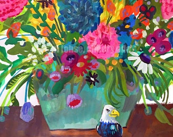 Fly Little Eagle Fly • still life • art print • giclee • floral • flowers • whimsical • flower vase series • bird • gouache • colorful •gift