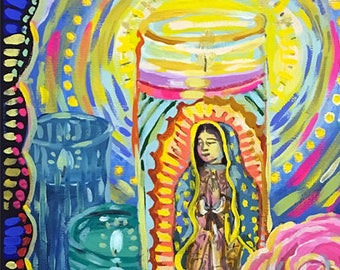 Our Lady of Guadalupe • art print • prayer candles • giclee • floral  • whimsical • flower vase series • portrait • mexico • colorful • gift