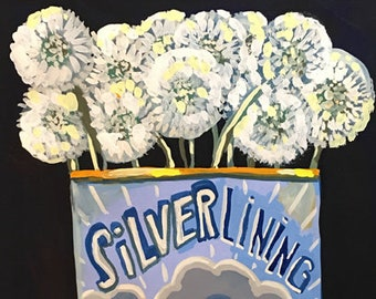 Silver Lining Flowers • art print • giclee • dandelions • whimsical • flower vase series • still life • tea tin • every cloud has one • wish