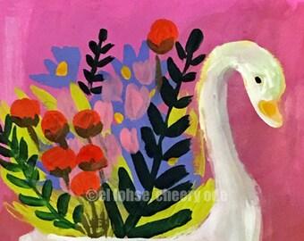 Swan bearing gifts  •still life • art print • giclee • floral • flowers • whimsical • vase series • bird • gouache • mary blair •gift •retro