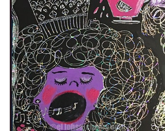 The Singer • art print • giclee • vintage inspired • whimsical • teacup • portrait • birds • scratch art •contemporary •gift • purple •funny