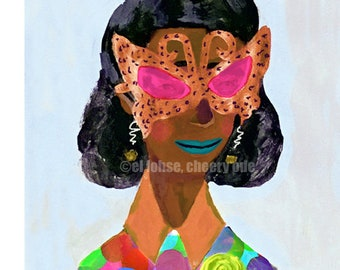Some Not-so-subtle Sunglasses and the Glam Lady who Wears Them • art print • giclee • retro inspired • whimsical • portrait and story • gift