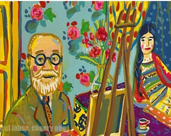 Matisse in His Studio • art print • giclee • henri • floral • zita • model • whimsical • post impressionism • portrait • art history • gift