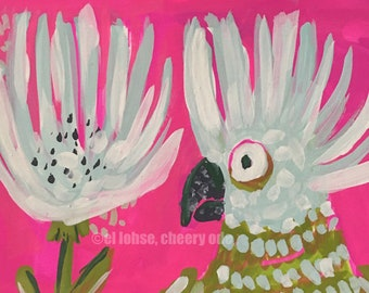 The Bird is Having a Twinsies Moment • art print • giclee • floral • flowers • whimsical • bird • gouache • nursery • gift • office • pink