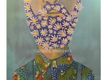 Floral Facial Hair Guy • art print • giclee • daisies • whimsical • Flower vase series  • portrait • birds • beard •contemporary • gift •fun