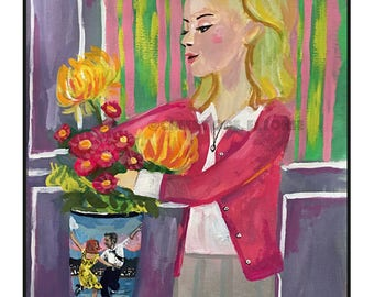 La La Land and Umbrellas of Cherbourg mashup • art print • giclee  • movie • french new wave • whimsical • flower vase art series • portrait